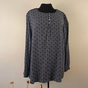 Long sleeve blouse button front indigo shirt top
